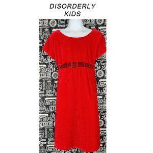 Disorderly Kids Red Velvet Dress Sz M (7/8)